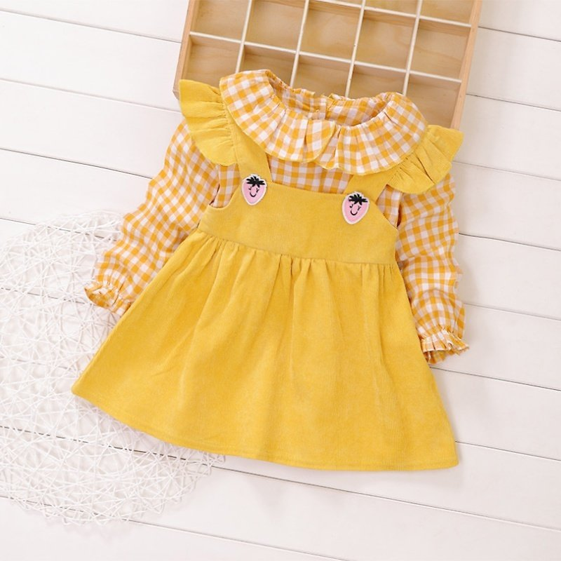 Baby Adorable Doll Collar Plaid Dresses