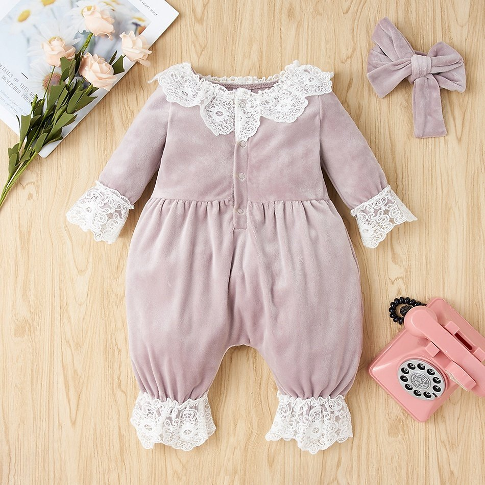 2-piece Baby Pretty Fleece Lace Jumpsuit and Headband Set