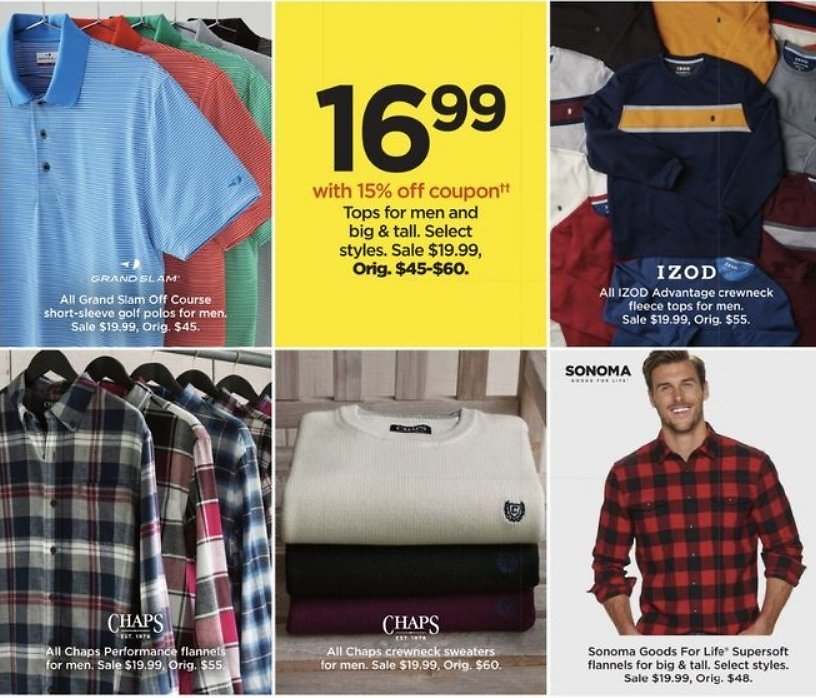 $16.99 Tops for Men and Big & Tall