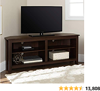 Walker Edison Simple Farmhouse Wood Stand with Storage Cabinets for TV's Up to 56