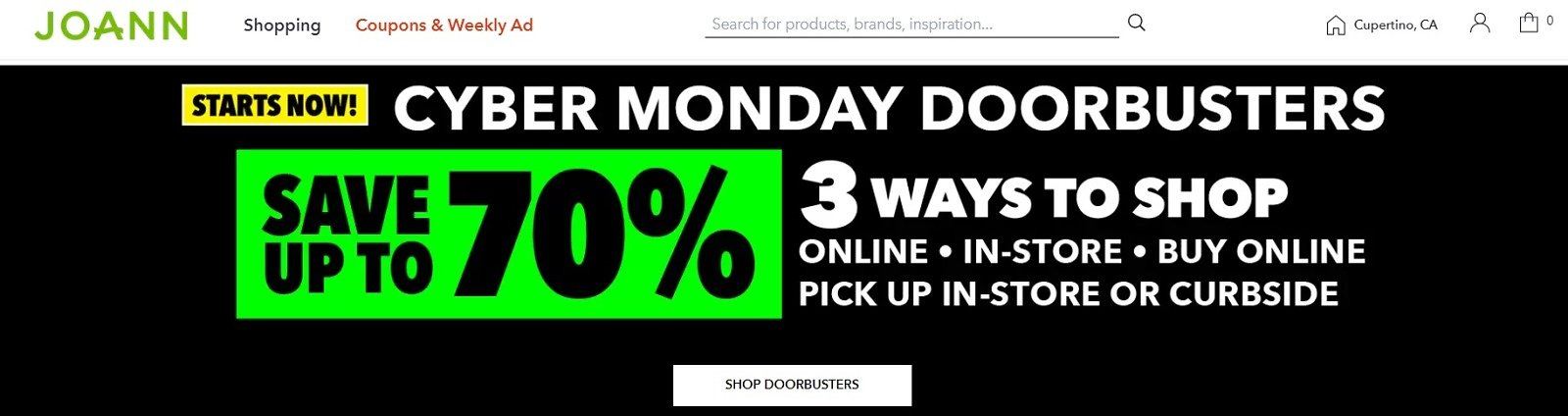 Up to 70% Off Cyber Monday Doorbusters