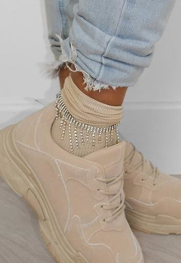 Missguided - Silver Look Crystal Strand Anklet