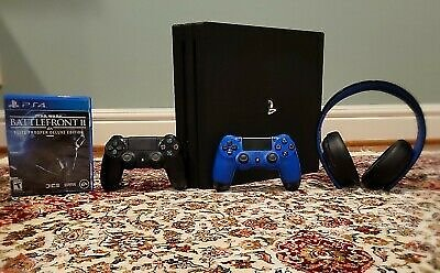 PlayStation 4 Pro 1TB + 2 PS4 Controllers, PS Gold Wireless Headset, Battlefrnt2