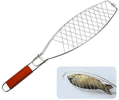 Barbecue Grilling Basket Grill Fish BBQ Holder Net Meat Fish Vegetable Tool 614993354448