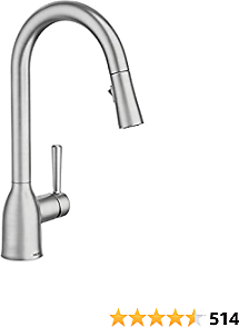 Moen 87233SRS Adler One-Handle High Arc Pulldown Kitchen Faucet with Power Clean, Spot Resist Stainless