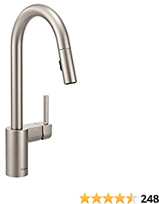 Moen 7565SRS Align One-Handle Modern Kitchen Pulldown Faucet with Reflex and Power Clean Spray Technology, Spot Resist Stainless