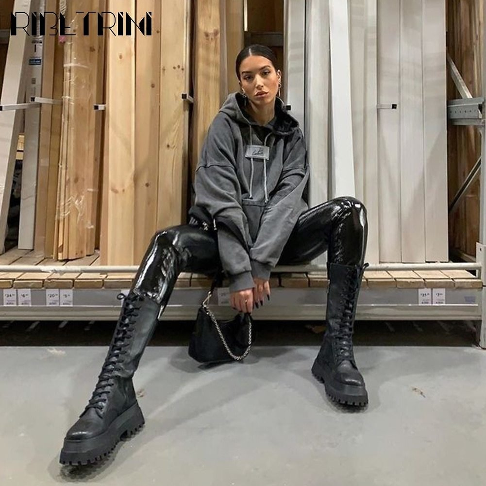 US $18.86 40% OFF|RIBETRINI 2020 Autumn New Arrival Luxury Brand Design Mid Calf Boots Women Cool High Platform Boots Wedges Shoes Woman|Mid-Calf Boots| - AliExpress