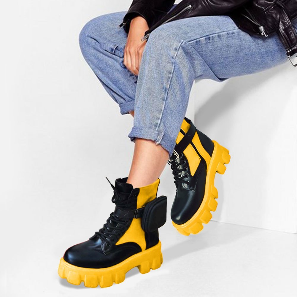 US $21.83 40% OFF|Brand Design Ladies Chunky Heels Boots Fashion Trendy Little Bag Ankle Boots Women 2020 Party Mixed Colors Platform Shoes Woman|Ankle Boots| - AliExpress