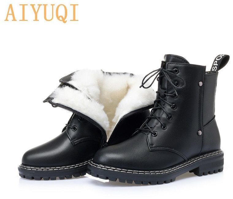 US $42.48 35% OFF|AIYUQI Women's Winter Shoe Boots 2020 New Genuine Leather Ladies Short Boots Wool Warm Non Slip Student Women's Ankle Boots|Ankle Boots| - AliExpress