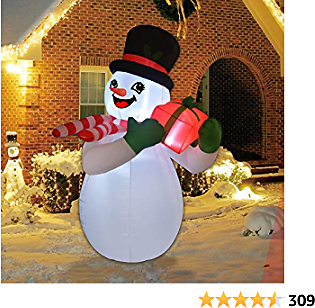 GOOSH 5 Foot Tall Inflatable Snowman Christmas Inflatable Snowman with Gift Box in The Hand LED Lights Indoor-Outdoor Yard Lawn Decoration - Cute Fun Xmas Holiday Blow Up Party Display
