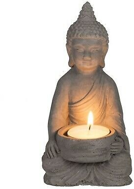 Sitting Buddha Tea Light Holder Indoor Garden Outdoor Statue Ornament