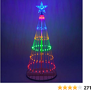 Wintergreen Lighting 14-Function LED Light Show Cone Christmas Tree, Outdoor Christmas Decorations (4', Multicolor)