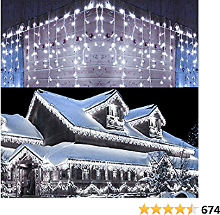 Toodour Icicle Christmas Lights, 432 LED 35.4ft 8 Modes Icicle String Lights with 72 Drops, Window Curtain Fairy Icicle Lights, Icicle Fairy Twinkle Lights for Christmas, Party, Holiday (White)