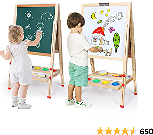 Kids Easel Double-Sided Magnetic Whiteboard & Chalkboard Multiple-Use Easel with Bonus Magnetics, Numbers, Paint Cups Best Gift for Kids Boys Girls…