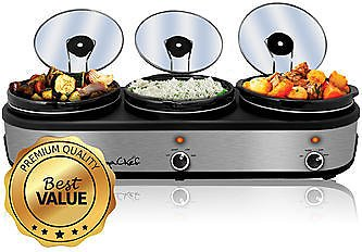 MegaChef Triple 2.5 Quart Slow Cooker and Buffet Server
