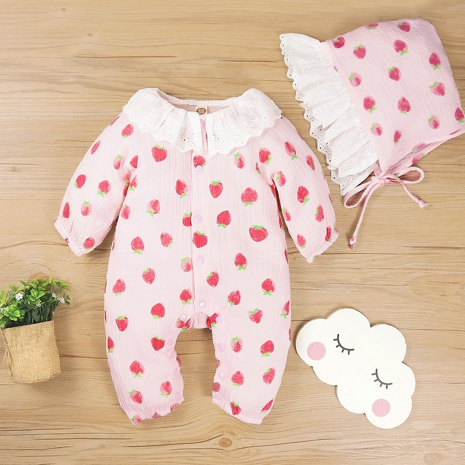 2-piece Baby Strawberry Jumpsuit with Hat
