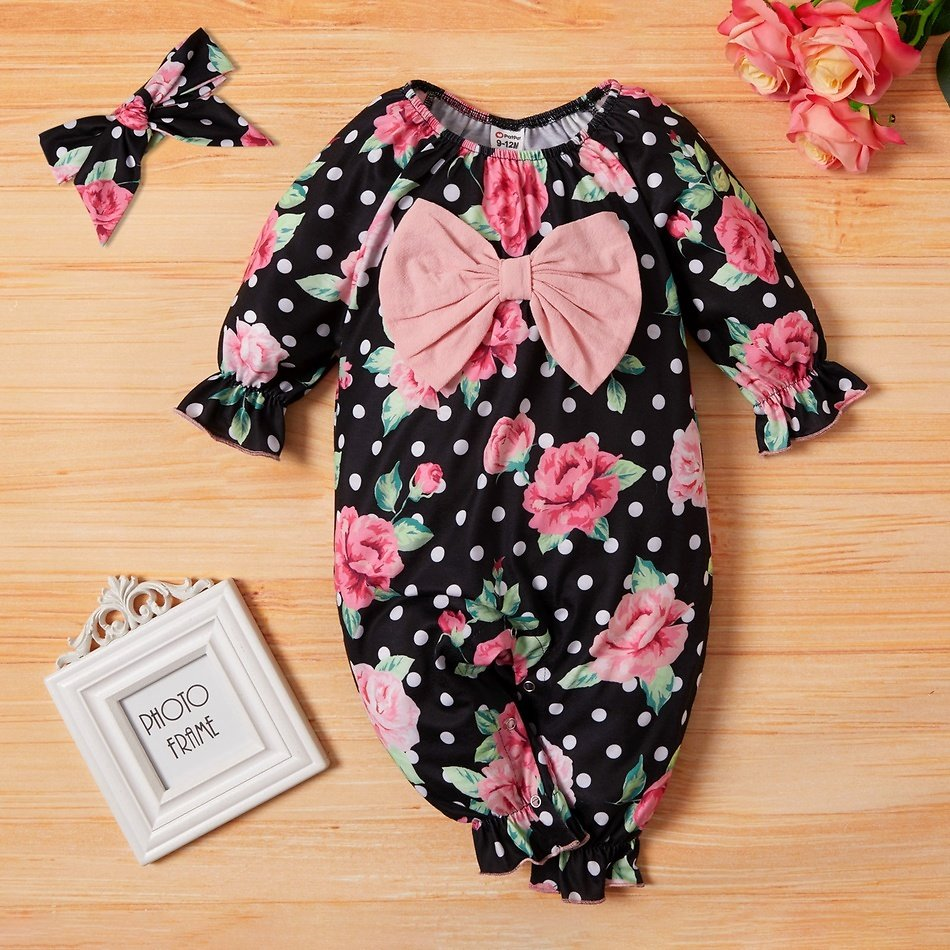 2-piece Baby Floral Polka Dots Bowknot Jumpsuit with Headband