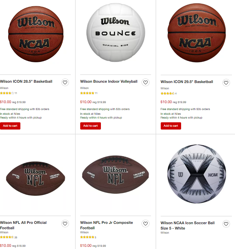 Wilson's Basketballs, Volleyball, Footballs and Soccer 50% Reduced Price Just $10