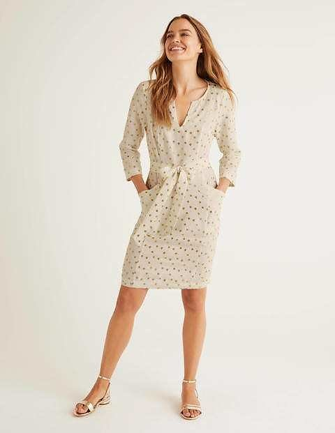 Kelsey Linen Tunic - Ivory and Gold, Daisy Bud | Boden US