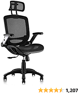 Gabrylly Office Mesh Chair, Ergonomic Desk Chair - Adjustable Headrest with Flip-Up Arms, Tilt Back, Lumbar Support, Swivel Computer Task Chair for Home Office