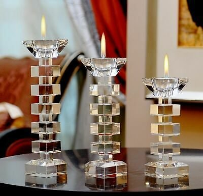 Crystal Candlestick Candle Holder Stand Tealight Centerpieces Elegant Decoration