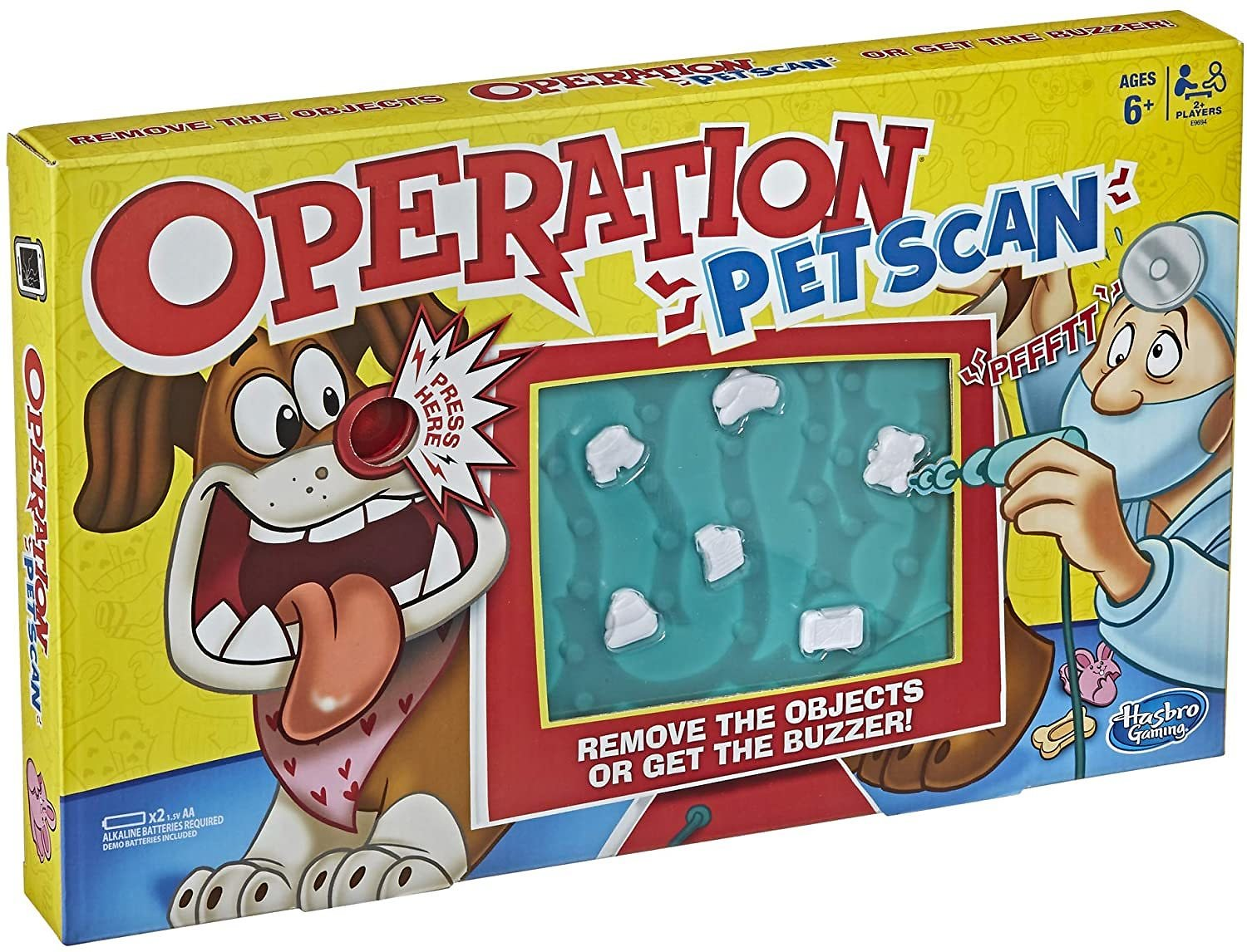Operation Pet Scan Board Game for 2 or More Players, with Silly Sounds, Remove The Objects or Get The Buzzer