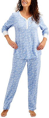 Charter Club Thermal Fleece Printed Pajama Set, Created for Macy's & Reviews - Bras, Panties & Lingerie - Women