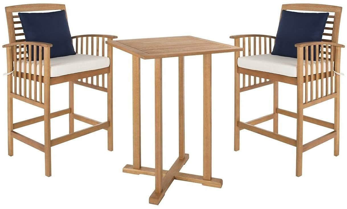 Safavieh Outdoor Collection Pate Teak and White 3 Pc 39.8
