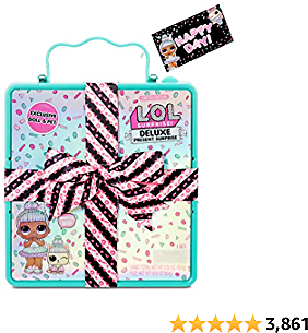 LOL Surprise Deluxe Present Surprise (Teal) with Limited Edition Doll and Pet In Party Gift Box Packaging With Surprise Treats