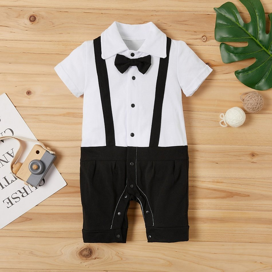 Handsome Faux-two Short-sleeve 100 Day Jumpsuit