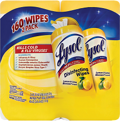 Lysol Disinfecting Wipes Lemon and Lime Blossom Scent 7 X 8 80 Sheets Per Canister Case Of 2 Canisters - Office Depot