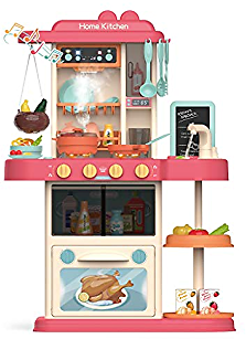 Tinde Play Kitchen Set with Realistic Lights & Sounds Kids Kitchen Playset &Kitchen Accessories Set Pretend Role Play Toys for Boys Girls Shipping from USA