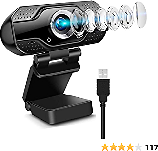PC Webcam, 1080P Full HD Webcam, Gaming Conferencing, USB Desktop & Laptop Webcam Live Streaming Webcam with Microphone Widescreen HD Video Webcam 110-Degree Extended View for Video Calling