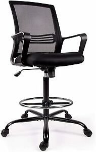 Comfort Adjustable Stool Swive W/Foot Office Tall Drafting Chair