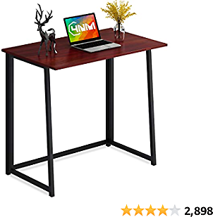 4NM Folding Desk, Small Computer Desk Home Office Desk Foldable Table Workstation for Small Places (Red and Black)