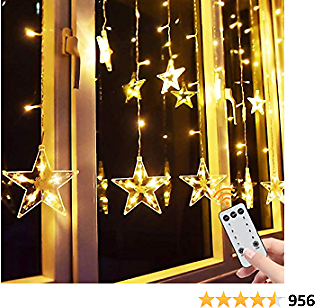 Star Curtain Lights, 138 Led 12 Stars Remote Window Curtain String Lights Plug in with 8 Flashing Modes Decoration for Christmas, Wedding, Bedroom, Party, Birthday, 7.3ft(W)×3.3ft(H), Warm White