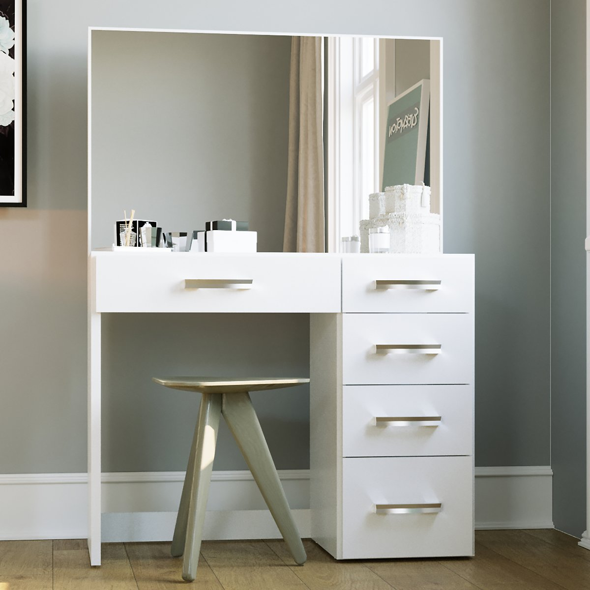 Boahaus Matilda Modern Vanity Table with Mirror and 5 Drawers, White Finish