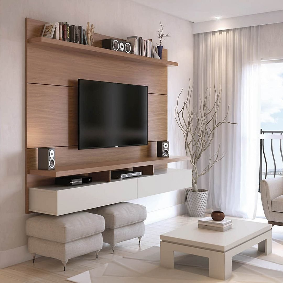 Manhattan Comfort City 62.99 Modern Floating Entertainment Center with Media Shelves in Maple Cream and Off White