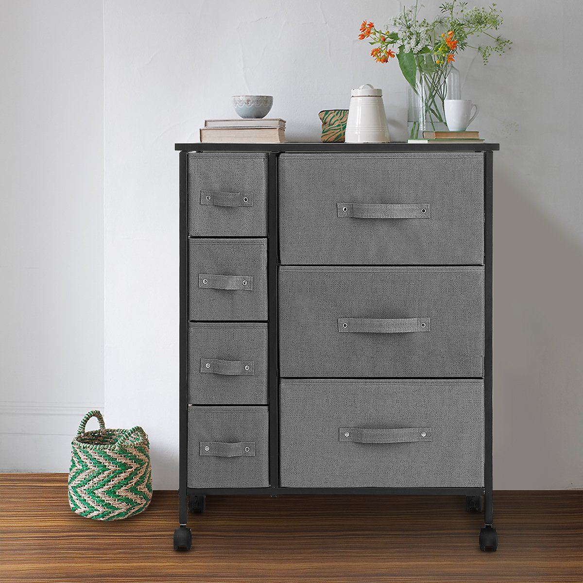 7 Drawers Dresser - KingSo Furniture Storage Tower Organizer Unit with Sturdy Steel Frame and Easy-Pull Chest of Drawers for Bed