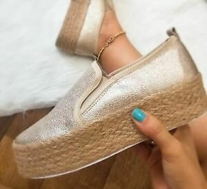 Women Casual Canvas Pumps Slip On Platform Trainers Sneaker Flats Loafers Shoes