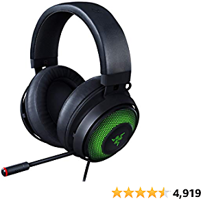 Razer Kraken Ultimate RGB USB Gaming Headset: THX 7.1 Spatial Surround Sound - Chroma RGB Lighting - Retractable Active Noise Cancelling Mic - Aluminum & Steel Frame - For PC - Classic Black