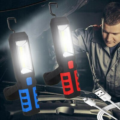 3W COB LED Work Light Lamp USB Rechargeable Magnetic Flashlight Torch+ Hook