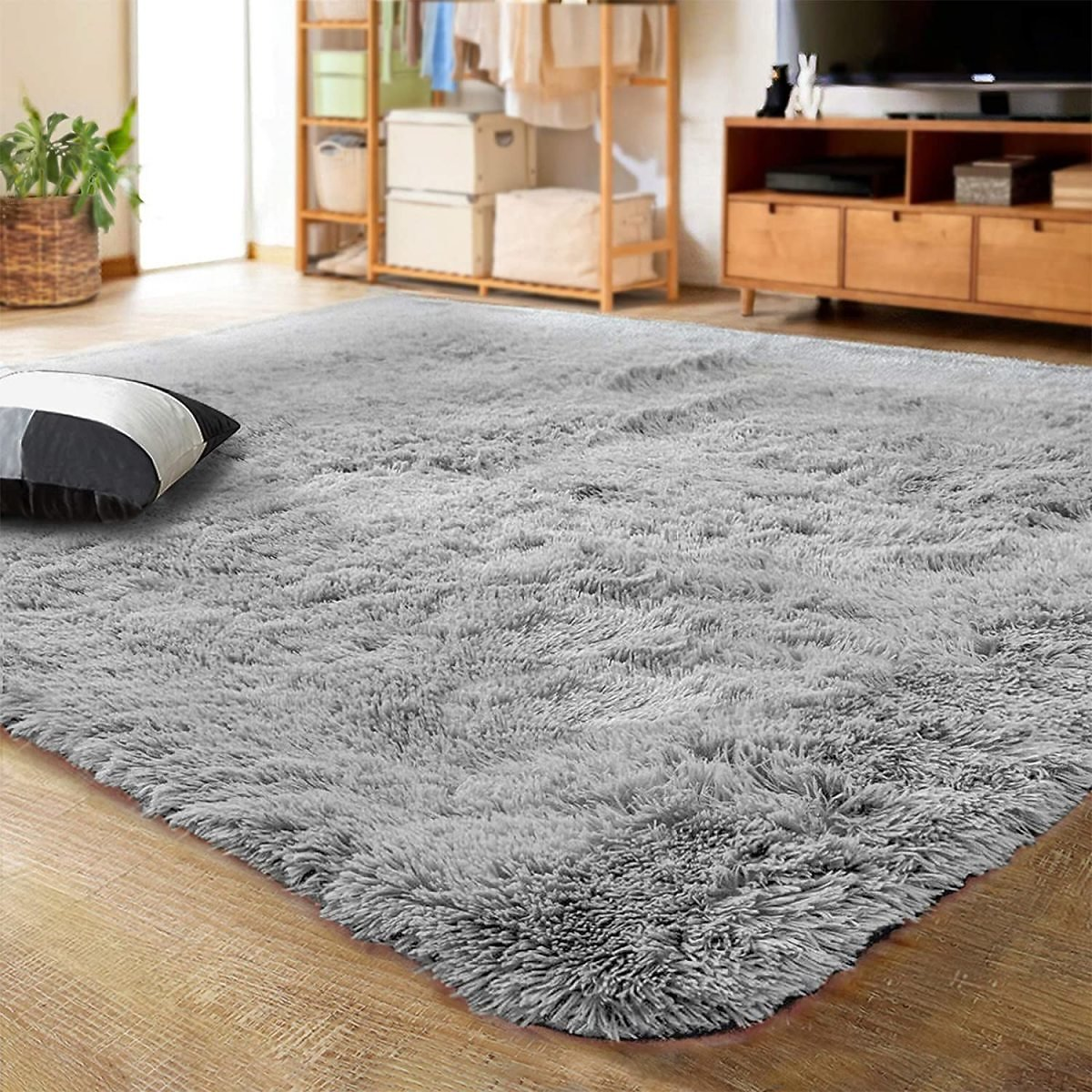 Ultra Soft Indoor Modern Area Rugs By LOCHAS, Fluffy Living Room Carpets for Children Bedroom Home Decor Nursery Rug 4x5.3 Feet,