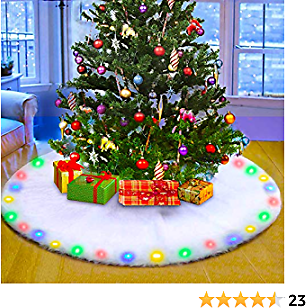 JDFLASH Christmas Tree Skirt 48 Inch with Flashing LED Light Upgraded, Snow White Faux Fur Xmas Tree Skirt for Holiday Party Decorations