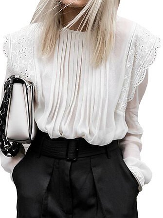 Lace Patch Loose Puff Long Sleeve Shirts O-neck Pleated Blouse For WomenTopsfromWomen's Clothingon Banggood.com