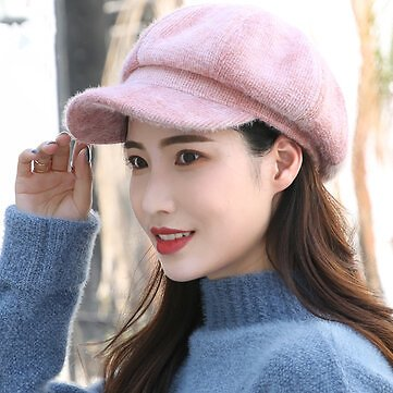 Women Wool Casual Universal Keep Warm Curved Brim Octagonal Hat Beret Hat Knitted Hat Women's Accessories from Apparel Accessories on Banggood.com