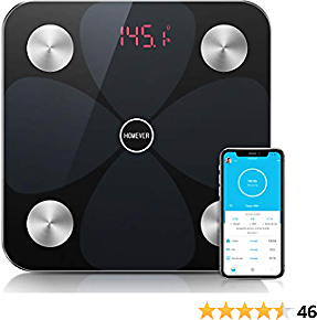 Homever Bluetooth Body Fat Scale BMI Scale Digital Bathroom Wireless Weight Scale, Body Composition Fitness Analyzer Scale with IOS, Android APP for Body Weight, Black