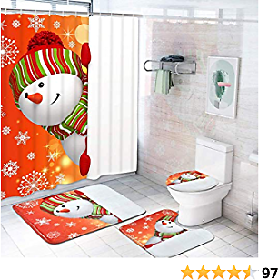 Claswcalor 4 Pcs Merry Christmas Shower Curtain Sets with Non-Slip Rugs, Toilet Lid Cover, Bath Mat and 12 Hooks Snowman Snowflake Shower Curtain for Christmas Decoration (Red, Large)
