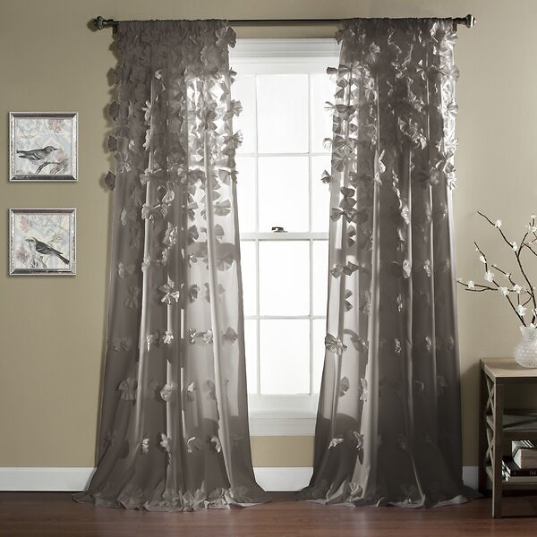 HUGE SALE OF 66% OFF ON Clarkstown Floral Semi-Sheer Rod Pocket Single Curtain Panel