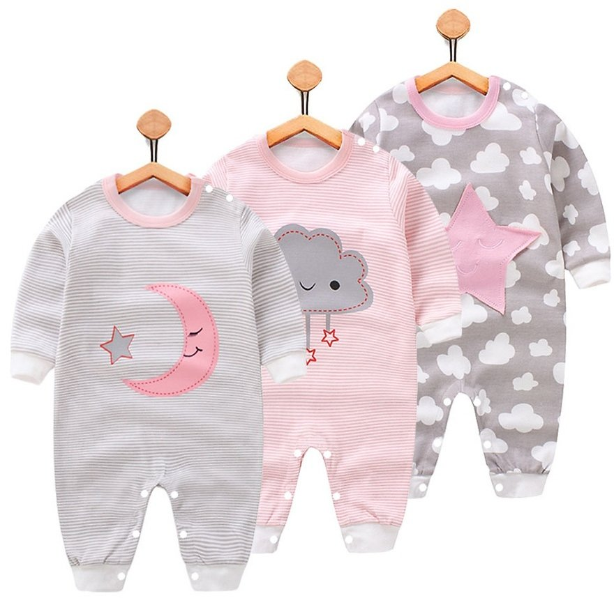 Baby Boy / Girl Cartoon Pattern Moon, Cloud or Stars Jumpsuit